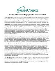 Speaker & Moderator Biographies for ... - Reuse Alliance