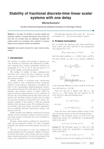 Stability of fractional discrete-time linear scalar systems with ... - PAR