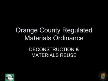 Orange County Regulated Materials Ordinance - Reuse Alliance