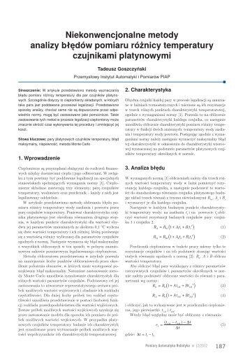 Niekonwencjonalne metody analizy błędów pomiaru różnicy ... - PAR