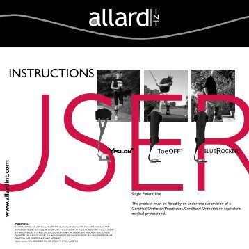 User Instructions ToeOFF Family - Allard International