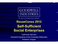 Self-Sufficient Social Enterprises GOODWILL - Reuse Alliance