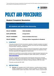 Student Complaint Resolution Policy - Victoria University