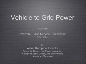 Vehicle to Grid Power - the Delaware Public Service Commission
