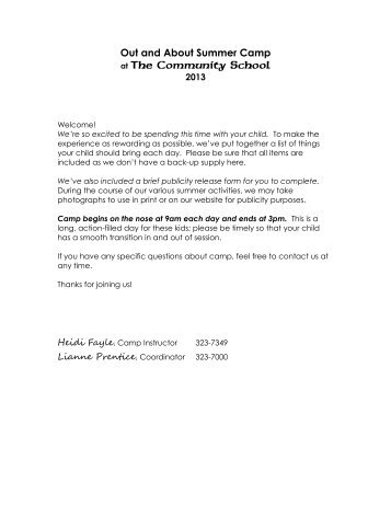 Out and About Summer Camp - The Community School