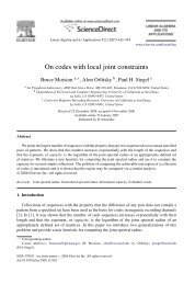 On codes with local joint constraints - STAR | UCSD