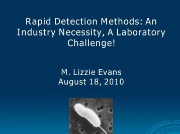 Rapid Detection Methods - Interstate Shellfish Sanitation Conference
