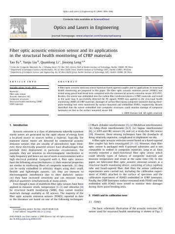 Fiber optic acoustic emission sensor and its applications in the ...