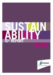 Sustainability Report 2010 - Lafarge