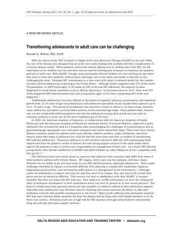 Transitioning adolescents to adult care can be challenging