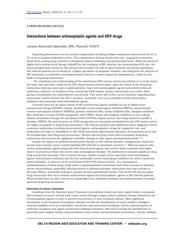 Interactions between antineoplastic agents and ARV drugs