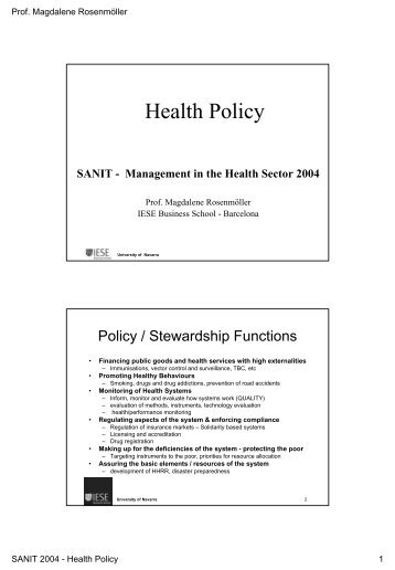 Health Policy 2004 - IESE Blog Community - IESE Business School
