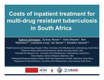 Costs of inpatient treatment for multi-drug resistant tuberculosis in ...