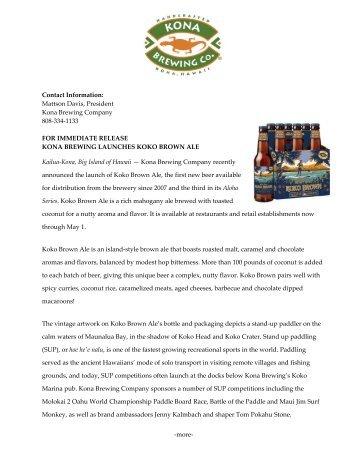Contact Information - Kona Brewing Company
