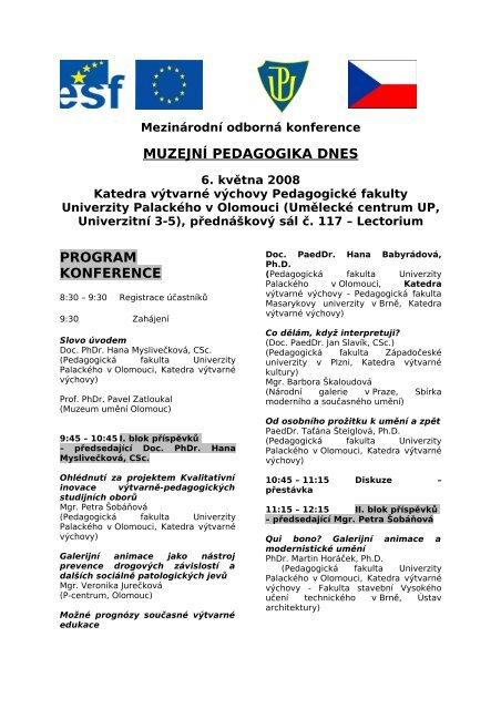 Program konference - Katedra výtvarné výchovy PdF UP