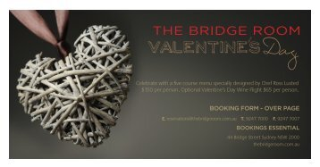 VALENTINES DAY BOOKING FORM