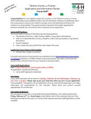 Tehama County 4-H Camp Application and Information Packet