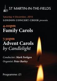 4 December 2010: Family Carols / Advent Carols