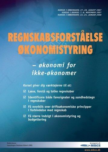 REGNSKABSFORSTÅELSE ØKONOMISTYRING - MBCE