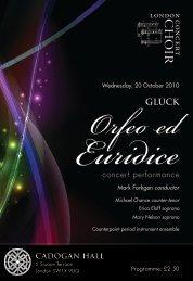 20 October 2010: Orfeo ed Euridice (Gluck)
