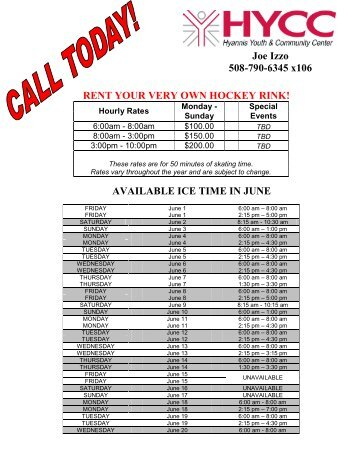 RENT YOUR VERY OWN HOCKEY RINK! AVAILABLE ICE TIME IN ...