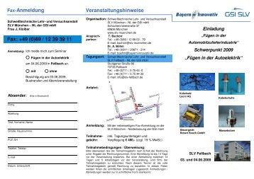 Fax-Anmeldung Fax: +49 (0)89 / 12 39 39 11 Veranstaltungshinweise