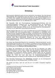 Korea International Trade Association Anmeldung