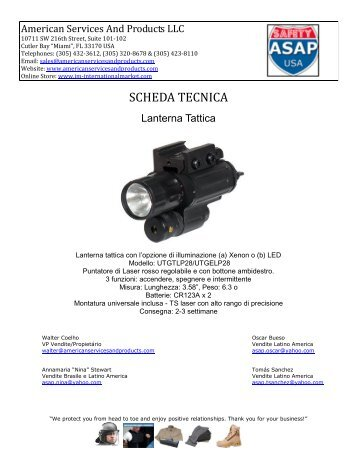 SCHEDA TECNICA - American Services And Products