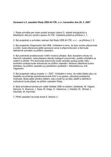 Usnesení z 2. zasedání Rady ÚEB AV ČR, v.v.i. ... - Akademie věd ČR