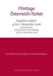 Kurzinfo für Sponsoren - Filmtage Österreich : Türkei in Hallein