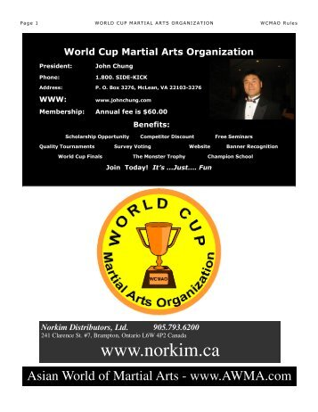 World Cup Martial Arts Organization Rules