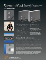 Eliminates front-to-back room wiring SurroundCast ... - SoundCast