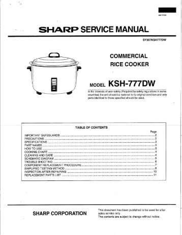 SHARP SERVICE MANUAL