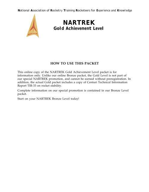 NARTREK Gold Achievement Level - National Association of
