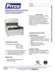 Model PCC14, PCC18 and PCC28 Crisp N' Hold Food Station - Pitco