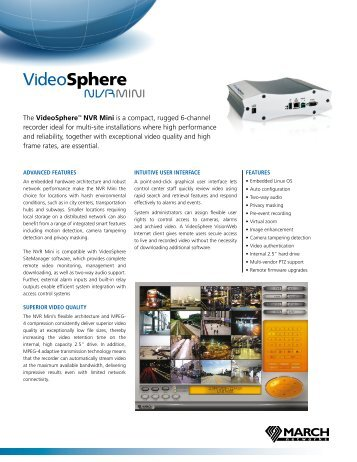 The VideoSphere™ NVR Mini is a compact, rugged 6-channel ...