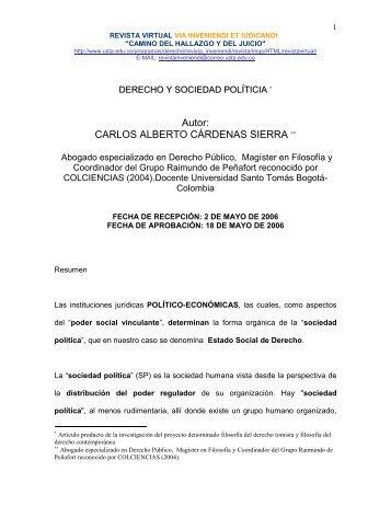 DERECHO Y SOCIEDAD POLÍTICA - Via Inveniendi Et Iudicandi