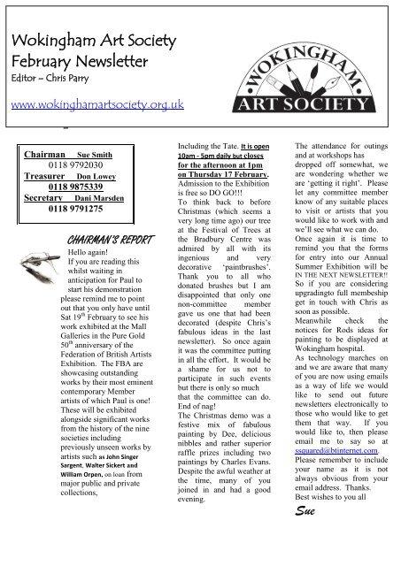 February 2011 Newsletter - Wokingham Art Society