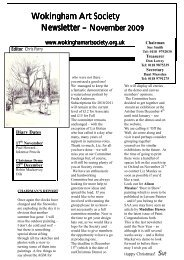 November 2009 newsletter - Wokingham Art Society