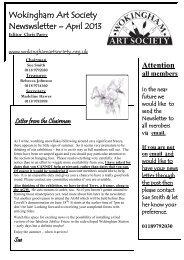 April 2013 Newsletter (pdf, 590 KB) - Wokingham Art Society