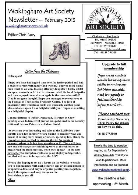February 2013 Newsletter (pdf, 580 KB) - Wokingham Art Society
