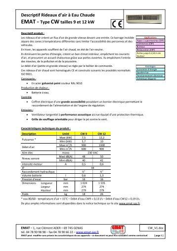 Descriptif Rideaux d'air à Eau Chaude EMAT - Type CW tailles 9 et ...