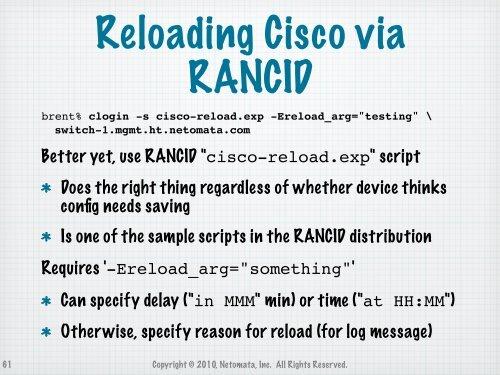 Reloading Cisco via RANCI