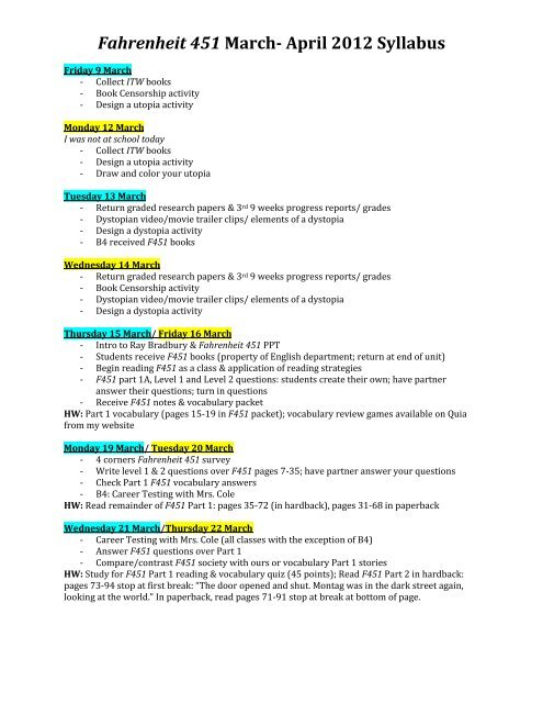 Fahrenheit 451 March April 2012 Syllabus