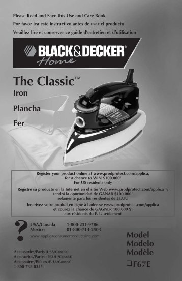 The Classic™ - Applica Use and Care Manuals