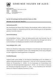 7. Mai 2013 - Gemeinde Hausen am Albis