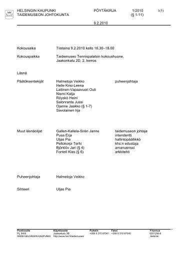 Esityslistan kansilehti