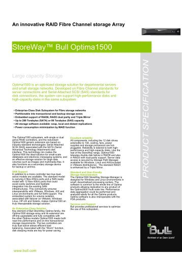 StoreWay™ Bull Optima1500 PRODUCT SPECIFICATION