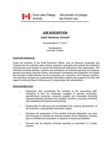 Job Description Great Lakes Pilot Authority Canada