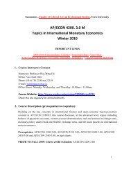 Topics in International Monetary Economics AP ... - York University